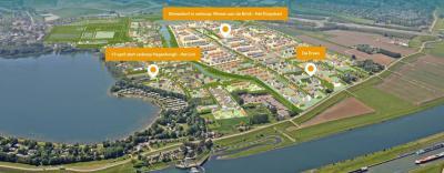 Artist impression van het nieuwe dorp Hoef en Haag, zij het geografisch gezien precies 'op zijn kop': onderin zie je de Lek, rechts de A27 en Vianen, linksbovenin Hagestein en links recreatieplas Everstein. (© www.hoefenhaag.nl)