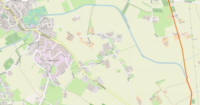 Buurtschap Hoek ligt direct ZO van de dorpskern van Erp en grenst in het N aan het riviertje de Aa en in het Z aan de provinciale weg N616 (Veghel - Gemert), die ter plekke Heuvelberg heet. (© www.openstreetmap.org)