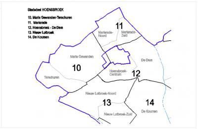 Actuele buurtindeling van het Heerlense stadsdeel Hoensbroek (bron: Bestemmingsplan Hoensbroek Centrum, 2008)