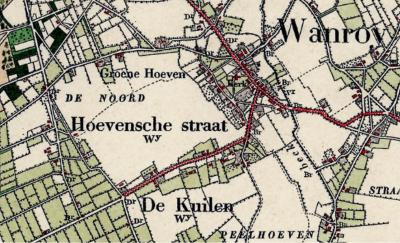 Tot begin 20e eeuw staat de buurtschap aan de Hoevensestraat bij het dorp Wanroij op de kaarten (en in de volkstellingen) onder de naam Hoevensche Straat. (© van deze kaart en die hierna: www.kadaster.nl)