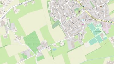 Buurtschap Hoeven bij/in Wanroij op een actuele kaart. Door de uitbreiding van het dorp Wanroij na de Tweede Wereldoorlog is de buurtschap deels in de dorpskern komen te liggen. (© www.openstreetmap.org)
