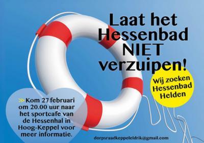 """Onder het motto """"Laat het Hessenbad niet verzuipen"""" zetten de inwoners van Hoog-Keppel e.o. zich in 2018 op allerlei manieren in om dit zwembad voor de toekomst te behouden. Zie daarvoor verder het hoofdstuk Natuur en recreatie."""