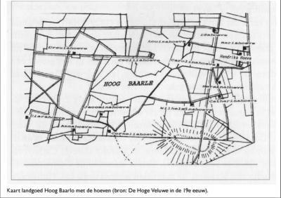 19e-eeuwse kaart van Hoog Baarlo met de toen nog bestaande boerderijen. Omdat Anton Kröller de Delenseweg niet mag verleggen naar het O om zijn jachtgebied te vergroten, koopt hij alle boeren W van de Delenseweg uit en breekt hun boerderijen af.