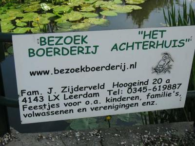 Op Bezoekboerderij Het Achterhuis, in de Leerdamse buurtschap Hoogeind, kun je terecht voor een scala aan recreatieve activiteiten voor kinderen en volwassen, zowel voor individuen, gezinnen als groepen. Kijk maar bij de tekst onder 'Natuur en recreatie'.