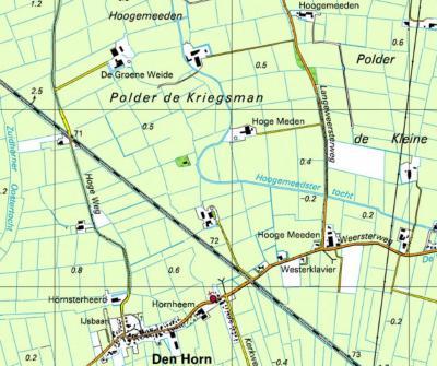 Volgens de atlas hebben maar liefst 3 boerderijen in buurtschap Hoogemeeden de naam van deze buurtschap, met allemaal een net iets andere spelling: van N naar Z Hoogemeeden, Hoge Meden en Hooge Meeden. (© Kadaster)