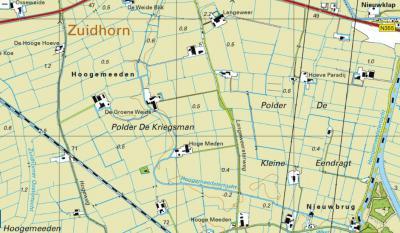 Op kaarten vanaf ca. 2010 is de naam Hoogemeeden bij de boerderij in kwestie 'uitgegumd', en is O daarvan de naam van zorgboerderij Hoeve Paradij toegevoegd. Deze valt net niet onder buurtschap Hoogemeeden, maar onder het dorp Aduard. (© Kadaster)