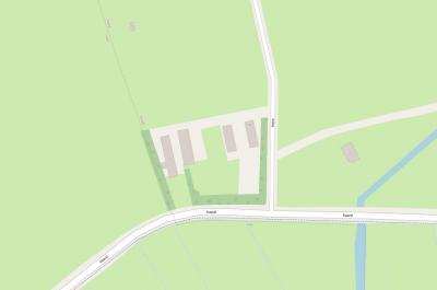 De hele buurtschap Horp staat op deze Kaard ehh kaart: van rechts naar links de panden op huisnrs. 1, 1a en 3. In het N in het weiland nog een object (schuur?) met huisnr. 15. (© https://www.openstreetmap.org)