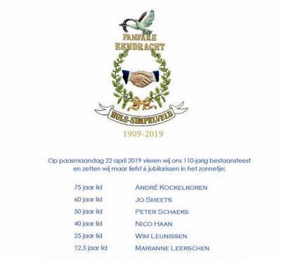 Fanfare Eendracht Huls is opgericht in 1909 en is nog altijd springlevend. In 2019 hebben ze het 110-jarig jubileum gevierd, en tevens de 6 jubilea van de hier vermelde leden. André Kockelkoren is in 2019 maar liefst 75 jaar lid!