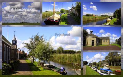 It Heidenskip, collage van dorpsgezichten (© Jan Dijkstra, Houten)