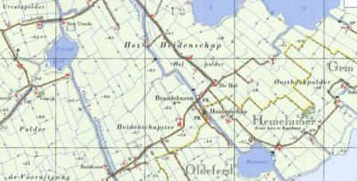 Ook kaartenmakers vonden naamgeving en positionering in en rond It Heidenskip kennelijk verwarrend. Op deze kaart uit ca. 1975 positioneren ze de plaatsnaam Brandeburen aan de Heidenskipsterdyk in plaats van aan de straat die nu Brânburren heet...