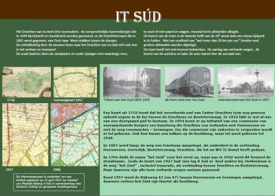 Sinds 2012 is er in buurtschap It Súd een wandelroute, met onderweg drie fraaie informatiepanelen die iets vertellen over de geschiedenis van de buurtschap. Hier informatiepaneel 1, over de geschiedenis van de weg It Súd.