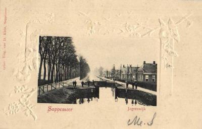 Ansichtkaart uit ca. 1900 (afgestempeld in 1903), van buurtschap Jagerswijk, met de toen nog bestaande gelijknamige vaart (later ook Noordbroeksterdiep en Noordbroekstervaart geheten).
