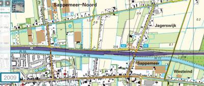 T/m 2009 staat de buurtschap en plaatsnaam Jagerswijk nog keurig vermeld op de kaarten van het Kadaster. Zoals het ook hoort natuurlijk. (© van deze kaart en die hieronder: Kadaster)