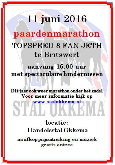 De paardenmarathon 8 van Jeth (2e zaterdag van juni) is een 8-vormige route van ca. 14 km tussen Wiuwert en Britswert voor marathonwagens (enkel-, dubbel- en vierspan) met acht hindernissen, georganiseerd door Stal Okkema (Jeth 5).