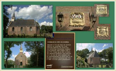 Collage van het kleine, maar fraaie kerkje van Schurega uit 1715