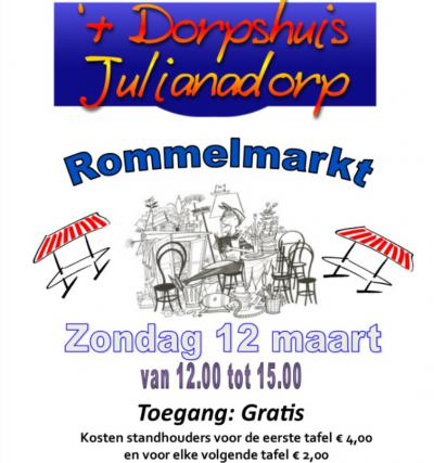 Ook buiten het hoogseizoen is er regelmatig iets te doen in Julianadorp. Zo is er op een zondag in maart de Rommelmarkt in het Dorpshuis.