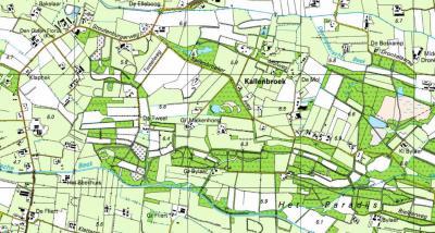 Actuele kaart van de buurtschap Kallenbroek, die vanouds alleen in het W van dit gebied als zodanig stond aangegeven (rond en Z van de molen), en sinds 1930 op de kaarten naar het O is verschoven. Het schijnt er nogal een paradijs te zijn... (© Kadaster)