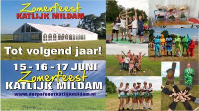 Het Zomerfeest Katlijk Mildam is altijd in een weekend in juni. In 2018 is het Zomerfeest op 15, 16 en 17 juni.