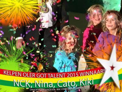 Ook het dansen en zingen krijgt de jeugd van Kelpen-Oler al met de paplepel ingegoten. Nina, Cato en Kiki höbbe waanzinnig gedansj en gezonge op 't nummer van Sjingboem: 'Wae höbbe de Prins geraoje', en hebben daarmee Kelpen-Oler Got Talent 2015 gewonnen.