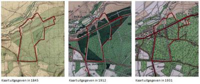 Hier is goed te zien dat het gebied Kievitsdel tot 1930 nog nauwelijks bebouwd was (rode lijn is kern/bestemmingsplan Kievitsdel).