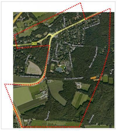 Kaart van het werkgebied van Bewonersvereniging Kievitsdel, en daarmee van het grondgebied van de gelijknamige buurtschap. De buurtschap ligt in de 'oksel' van de N225 ter plekke, plus een diagonale strook N daarvan. (© Bewonersvereniging Kievitsdel)