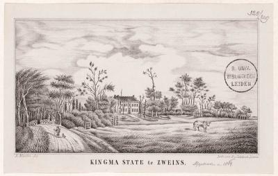 Kingmatille, tekening van de Kingma State, door Andries van Calfsbeek (1828-1896). Vandaag de dag zijn er plannen om een moderne, maar wel landschappelijk verantwoorde versie van het landgoed te herbouwen. Zie verder het kopje 'Recente ontwikkelingen'.
