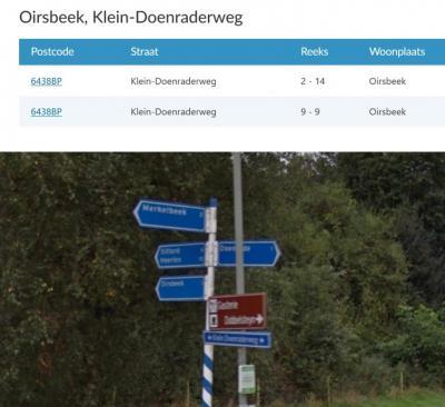 Analoog aan de plaatsnaam Klein-Doenrade is in het postcodeboek en de gemeentelijke adresbestanden ook de Klein-Doenraderweg met koppelteken. Helaas is de bordenmaker dat niet alleen bij de plaatsnaambordjes, maar ook bij de straatnaambordjes vergeten...