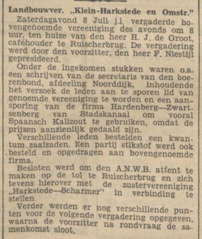 De kleine buurtschap Klein Harkstede was in ieder geval tot 1933 groot genoeg voor een eigen landbouwvereniging, getuige dit vergaderingsverslag in het Nieuwsblad van het Noorden d.d. 12-7-1933