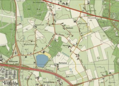 Situatie vóór 1997: buurtschap Klein Tilburg lag in het uiterste W van de gemeente Tilburg (de gele lijn is de gemeentegrens). W ervan was gemeente Gilze en Rijen, met de dan nog Gilzer buurtschap Berkeind en de dan nog Hultense buurtschap Heikant.