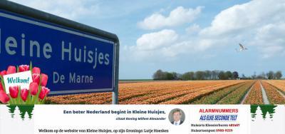 """Het kleine dorp Kleine Huisjes geniet sinds kerst 2018 landelijke bekendheid dankzij de uitspraak van koning Willem-Alexander in zijn kersttoespraak: """"Een beter Nederland begint in Kleine Huisjes."""" Waarom hij dit zei, kun je lezen in het hoofdstuk Status."""