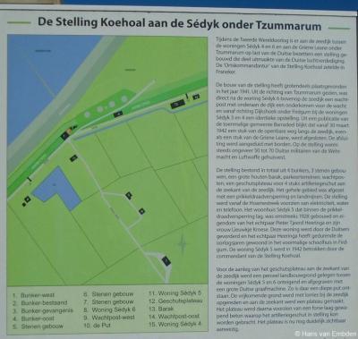 Stelling Koehool maakte onderdeel uit van de zogeheten Atlantikwall, een verdedigingswerk van de Duitsers langs de hele Westeuropese kust. Op een informatiepaneel ter plekke met plattegrond kun je alle details lezen over deze toenmalige stelling.