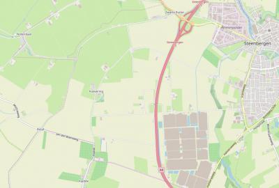 De buurtschap Koevering ligt W van Steenbergen. Helaas heeft de buurtshap geen plaatsnaamborden, terwijl buur-buurtschappen Notendaal en Kladde die wél hebben. (© www.openstreetmap.org)