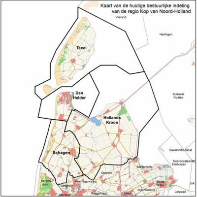 De regio Kop van Noord-Holland omvat sinds de gemeentelijke herindelingen van 2012 en 2013 nog vier gemeenten: Den Helder, Hollands Kroon, Schagen en Texel. (© www.noord-holland.nl)