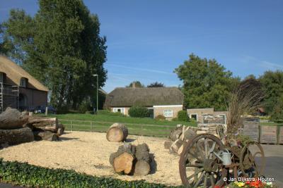 Buitenterrein van Ambachtelijke klompenmakerij Den Dekker in de Dussense buurtschap Korn. De boomstammen liggen al klaar om tot klompen te worden verwerkt.