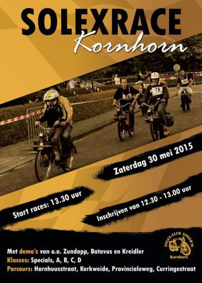 Kornhorn, een van de hoogtepunten tijdens de jaarlijkse feestweek is de solexrace