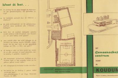 Door middel van deze folder worden de inwoners van Koudum opgeroepen om bij te dragen aan de kosten van het in 1968 te realiseren dorpshuis.