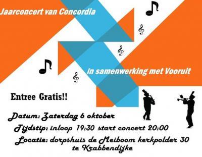 Op een zaterdag begin oktober is er in Krabbendijke het Jaarconcert van Muziekverenging Concordia, in Dorpshuis De Meiboom. Toegang gratis.