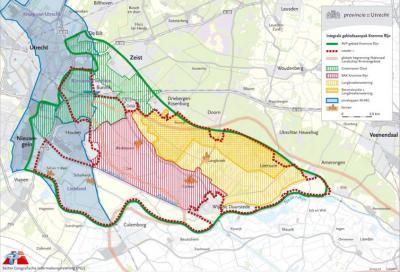 Kaart van de Kromme Rijnstreek, uit de Integrale visie en gebiedsprogramma 'De kracht en pracht van de Kromme Rijnstreek' (2007) (© Provincie Utrecht)