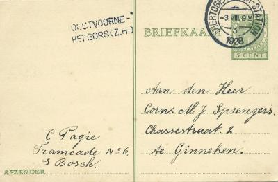 Deze briefkaart lijkt in 1928 door een Bosschenaar van Kruininger Gors naar Ginneken bij Breda te zijn verstuurd. Maar wij hebben hier nog wel wat vraagtekens bij. Zie daarvoor verder het kopje Beeld.