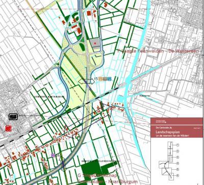 En hier zie je in detail hoe de N356 ter hoogte van de buurtschap Kûkherne (= de rode lintbebouwing W en O van de N356) is omgelegd en de buurtschap nu doorsnijdt.