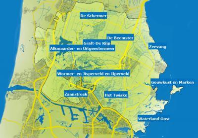 Mooie kaart van het Nationaal Landschap Noord-Holland, met daarop aangegeven de bijzonderste gebieden daarbinnen. (© http://www.laagholland.nl/opdekaart, waar deze gebieden allemaal aanklikbaar zijn, waarna je informatie over het gebied in kwestie krijgt)