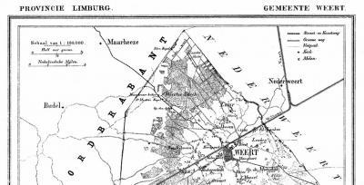 Op deze gemeentekaart uit ca. 1870 is duidelijk te zien dat het N buitengebied van het dorp Laar, met daarin o.a. het gebied Laarderheide, ook nog onder de gemeente Weert viel.