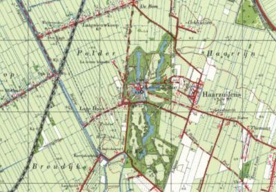 Kaart van buurtschap Lage Haar en omgeving anno ca. 1960. De brede waterlopen Heicop en Bijleveld zijn hier nog aanwezig. Enkele jaren later zijn ze grotendeels gedempt. (© Kadaster)