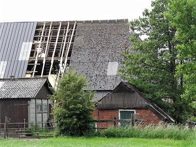 Boerderij op Lagemeeden krijgt een nieuw dak, anno mei 2018. De nieuwe dakplaten (links) vervangen de oude asbestplaten (rechts). (© Harry Perton / https://groninganus.wordpress.com/2018/05/25/ommetje-lagemeeden)