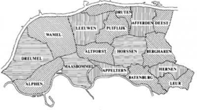 Kaart van het Land van Maas en Waal met de oorspronkelijk 16 dorpen (tegenwoordig zijn het er 17; na 1900 is Leeuwen gesplitst in de dorpen Boven- en Beneden-Leeuwen). (© A.G. Schulte)