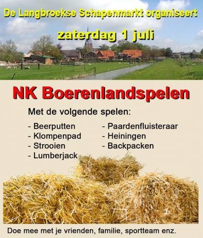 De Langbroekse Schapenmarkt, in 1980 begonnen om het dorpshuis te financieren en daarna te onderhouden, was er in 2017 alweer voor de 37e keer, maar het NK Boerenlandspelen was er voor het eerst. Een sportief evenement met leuke, uitdagende boerenspellen.
