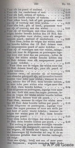 Langen / Zwiep, deel van de tarievenlijst voor de Langense Tol in het Staatsblad van 1859.
