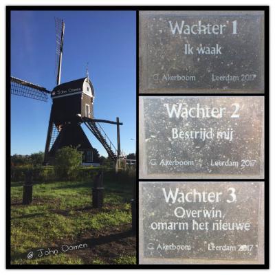 De Glasroute, de verbinding tussen het Glasmuseum aan de Lingedijk en de binnenstad van Leerdam, is in 2017 verrijkt met kunstwerk De Drie Wachters van Leerdam van Gerard  Akerboom bij Molen Ter Leede. (© John Oomen)