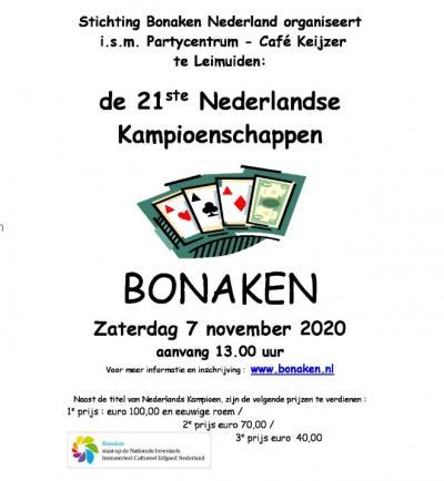 Wie kent er nu Leimuiden? Nou, het dorp is mooi landelijk beroemd - bij kaarters althans - vanwege de jaarlijkse Nederlandse Kampioenschappen Bonaken, in 2020 alweer voor de 21e keer. Weet je niet wat Bonaken is? Zie het hoofdstuk Evenementen etc.