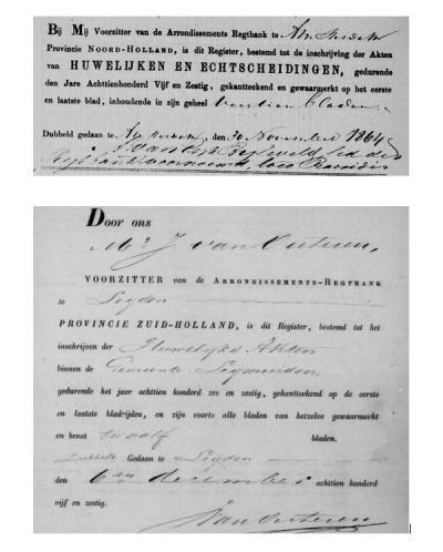 In 1865 is Leimuiden overgegaan van de prov. NH naar ZH. Dat is mooi te zien aan de registers van huwelijken en echtscheidingen, waar t/m 1864 nog kopieën van naar de rechtbank in Amsterdam gingen. V/a 1865 gingen ze naar Leiden. (© Leonard van Kessel)